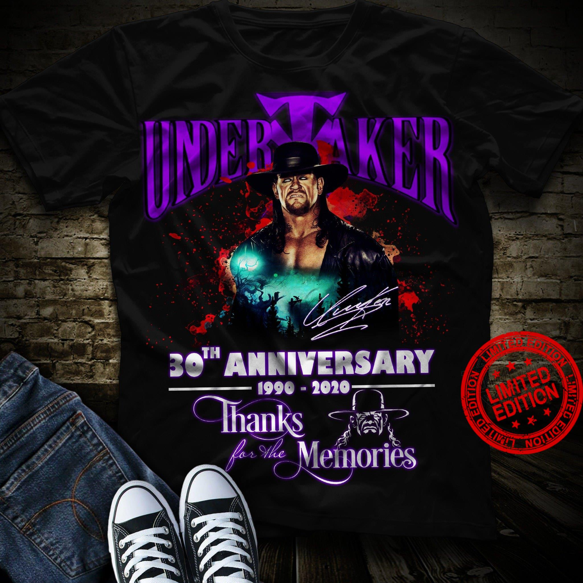 Undertaker 30th Anniversary 1990-2020 Thank For The Memories Shirt